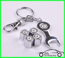 Free Shipping Benz Accessories Car Styling Car Wheel Tire Valve Caps with Mini Wrench Benz Keychain 4pcs/Pack(China (Mainland))