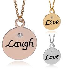 Buy 2016 New Arrival Fashion Pendant Necklace Live Laugh Love Best Friends Necklace 3pcs/set Wholesale 12sets/lot for $22.45 in AliExpress store