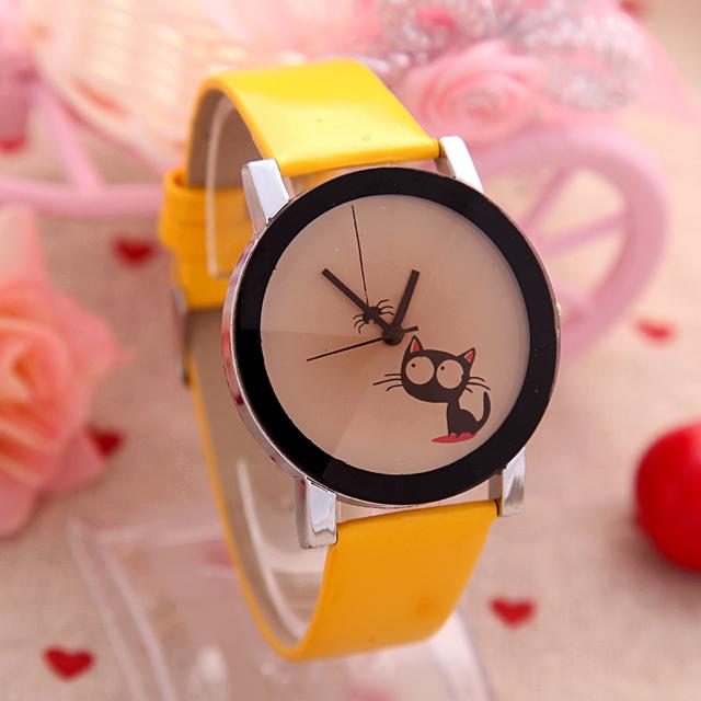 Zegarek damski kotek i pająk uroczy dziewczęcy różne kolory