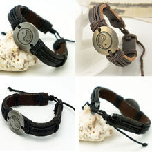 Vintage Men Women Leather Yin and yang Charm Wrap Infinity Bracelet Jewelry Gift