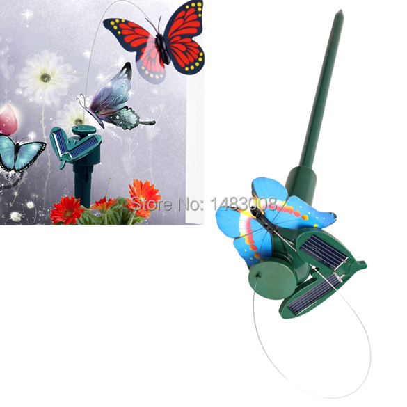Solar Powered Dancing Flying Butterfly Garden Decoration Color At Random High Quality(China (Mainland))