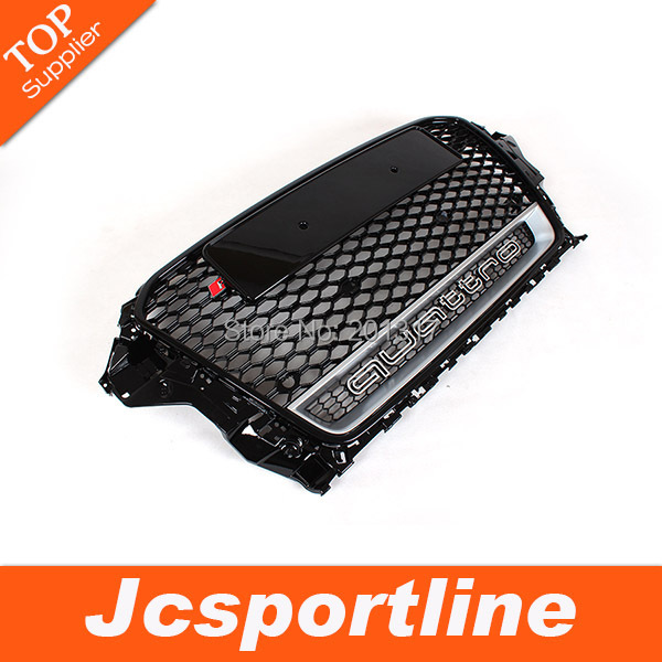 Black With Chrome Emblems, RS3 quatro Style Auto Car Front Bumper Grill with parking hole For A u di A3( Fit A3 2013-2014)(Hong Kong)