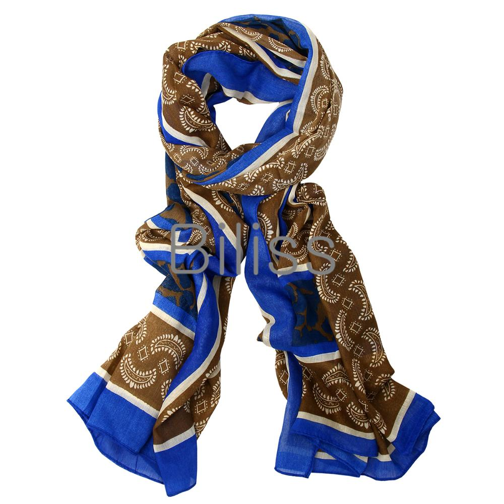 180cm Simple & Classic Lightweight Paisley Design Blue Pashmina Scarf Shawl Wrap Scarves for Women Girls Lady(China (Mainland))