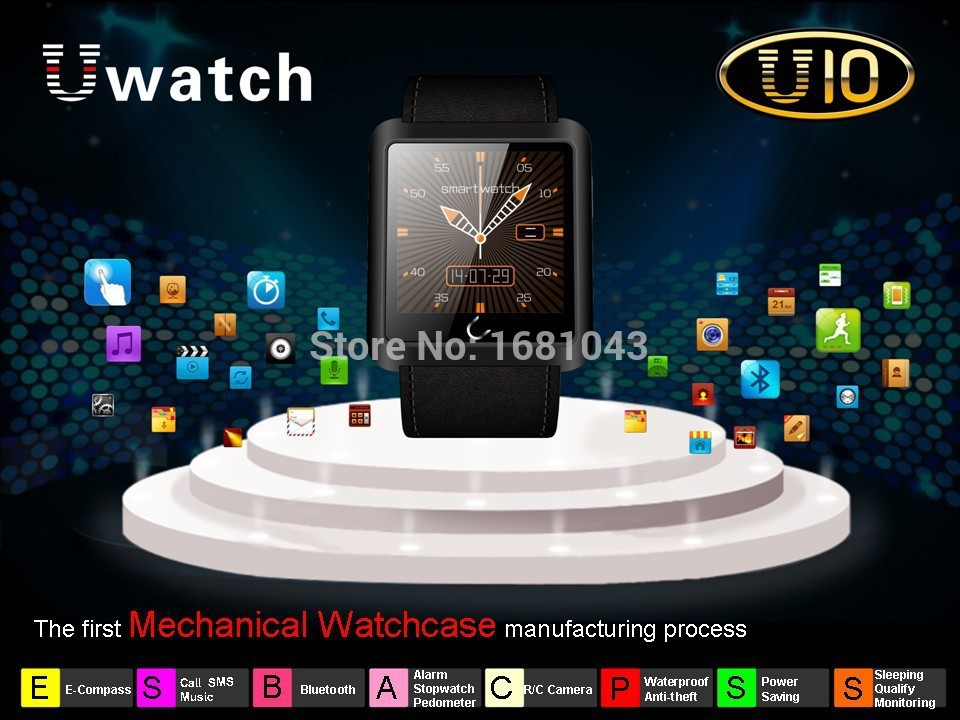 New 2015 New Bluetooth Smart Watch U10 Waterproof Smartwatch Wristwatch For IOS Android SmartPhones