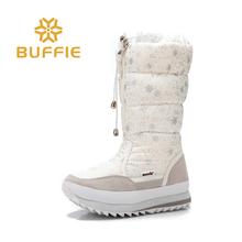 2017 de Invierno de Alta Nieve de Las Mujeres Botas de felpa Caliente de la Señora de zapatos Más El tamaño 35 a 42 desgaste fácil cremallera chica blanco flores de color caliente de arranque(China)