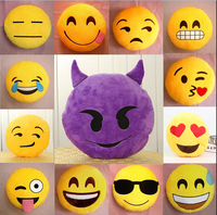 New Cute Soft Emoji Emoticon Pillow Smiley Emoticon Yellow Round Cushion Decorative Pillow Stuffed Plush Toy Doll Key Chain