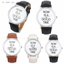 Buy New Fashion 2017 Relogio Feminino Reloj Mujer Women watch lady NOW IS GOOD TIME Leather Band Analog Quartz Dial Watch 40d00 for $1.44 in AliExpress store