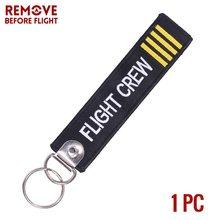 Remover antes do vôo chaveiro lançamento chaveiro bijoux chaveiros para motocicletas e carros preto tag chave bordado fobs chave(China)