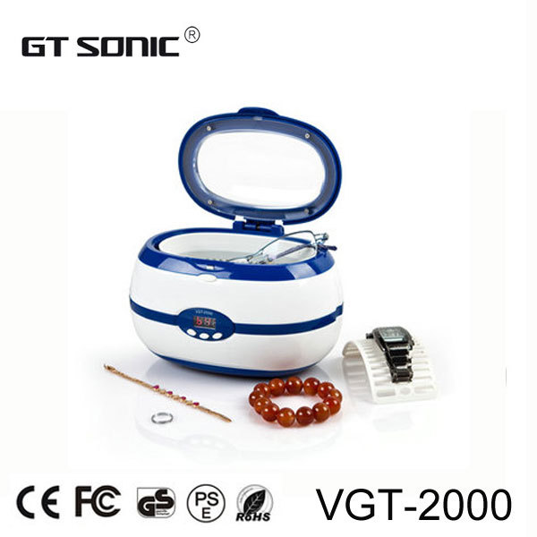 Jewelry digital ultrasonic cleaner 0.6L for jewelry, eyeglass, watch, razor, CD cleaning with free basket VGT-2000(China (Mainland))