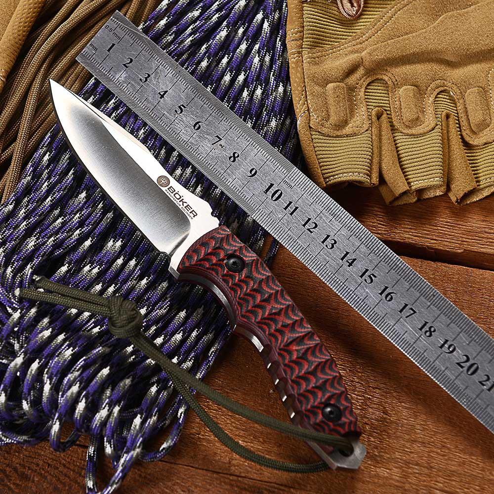 HOT!! Boker Straight Knife G10 Red Handle Outdoor Knives D2 Fix Blade Hunting Knife With a Sheath Tactical Knife FREE SHIPPING(China (Mainland))