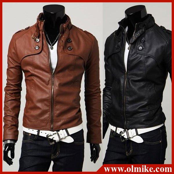 Men Slim Fit Leather Jacket - Jacket