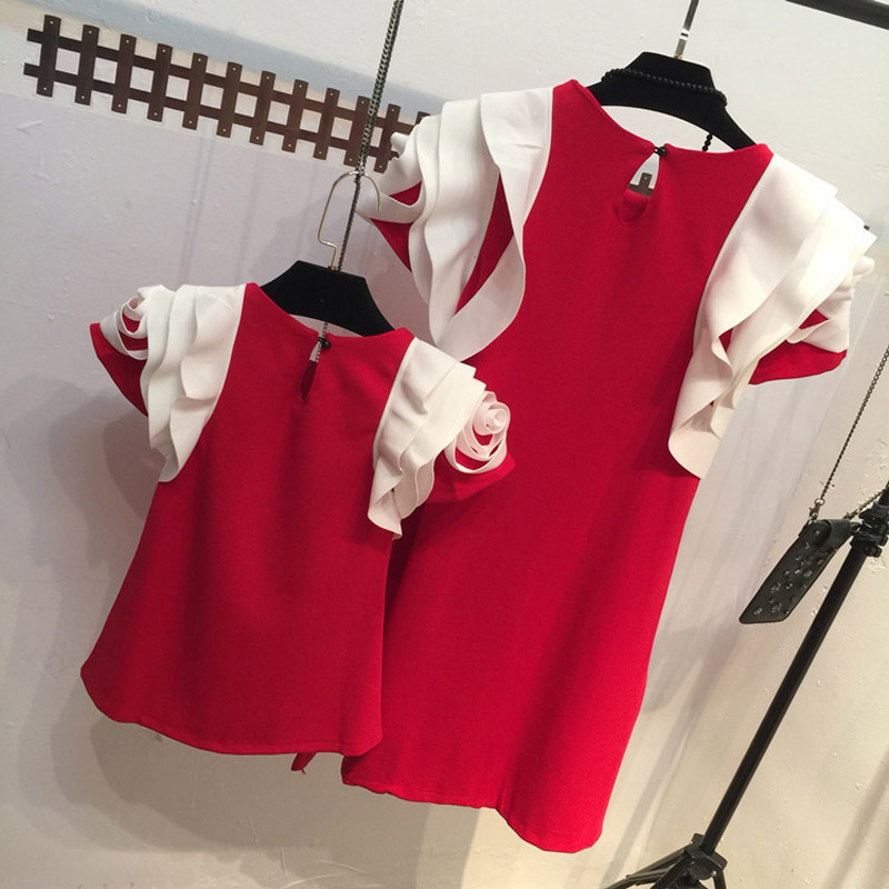 2016 Hot! Mother And Daughter Dress Girls Lotus Sleeve Princess Dress Kids Summer Clothes Children Red Clothing Free Shipping(China (Mainland))