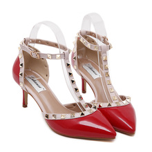 Women Heels Fasion Valentine Shoes Red Pointed Toe 7 cm Heel Women Office Shoes Low Heels Rivets Ankle Strap Heels