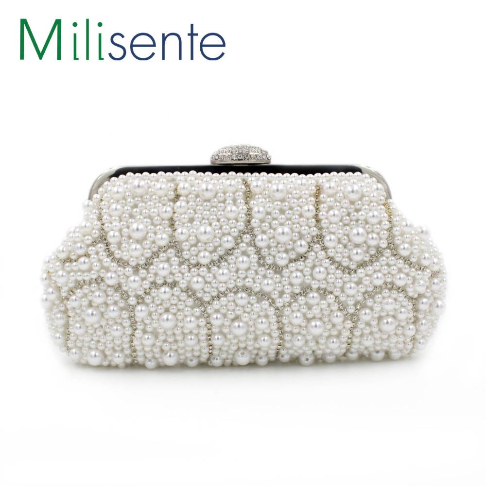 milisente 2016 top sale socialite style pearl purses white. Black Bedroom Furniture Sets. Home Design Ideas