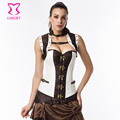 White Brown Steampunk Steel Boned Corset Overbust Plus Size Gothic Clothing Corsets And Bustiers Vintage Sexy