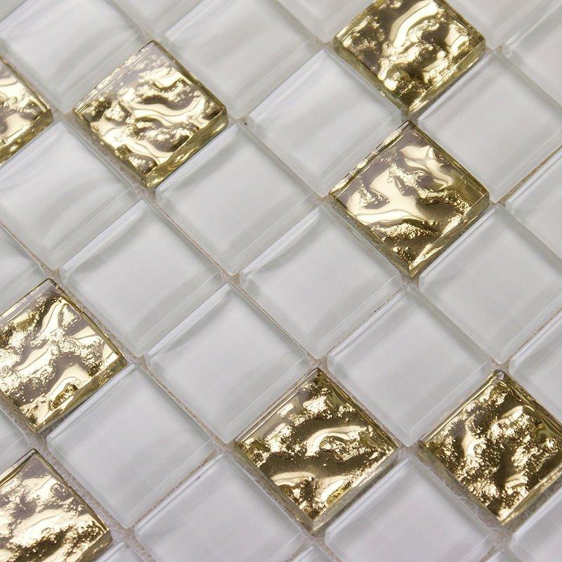 Mosaic tile mirror sheets metal electroplated art pattern - Mirror mosaic tile backsplash ...