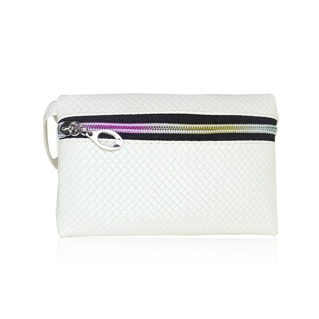 Синтетическая кожа женщины бумажник портмоне плетеная ткань монета сотовый телефон чехол мобильный мешок сумка Mini мешок