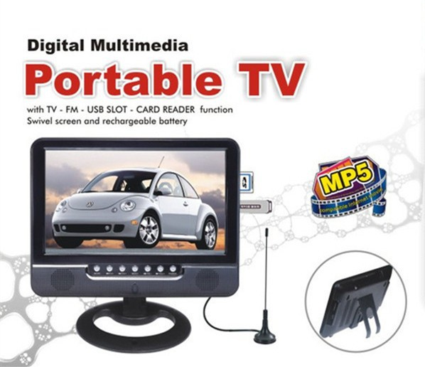 7 inch Portable TV Battery Built In 7inch Portable Small Mini Color TFT LCD TV With 800*480 Scanner Portable(China (Mainland))