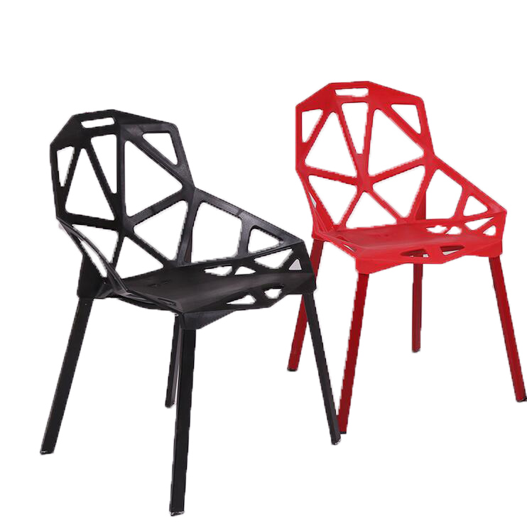 Set of 4 Pieces Steel Plate Geometry Modern Office Chair Computer Reception Plastic Hollow Training Meal Leisure Chairs(China (Mainland))