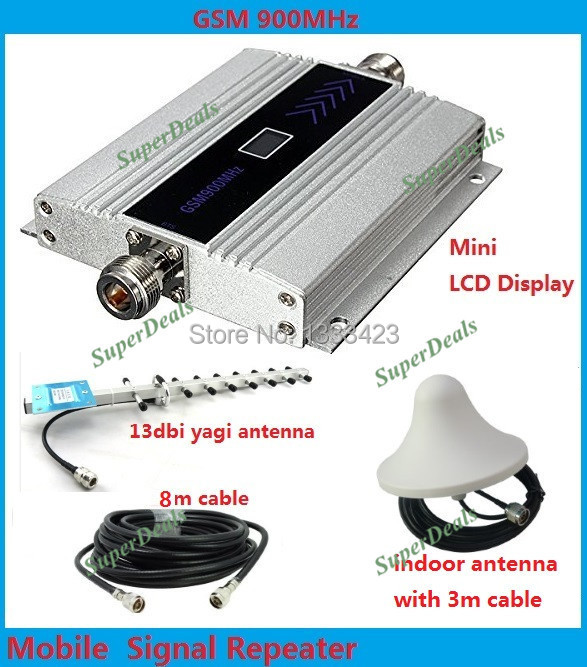 13db yagi + LCD display! mobile phone mini GSM 900mhz signal repeater / repetidor,cell phone GSM signal booster amplifier(China (Mainland))