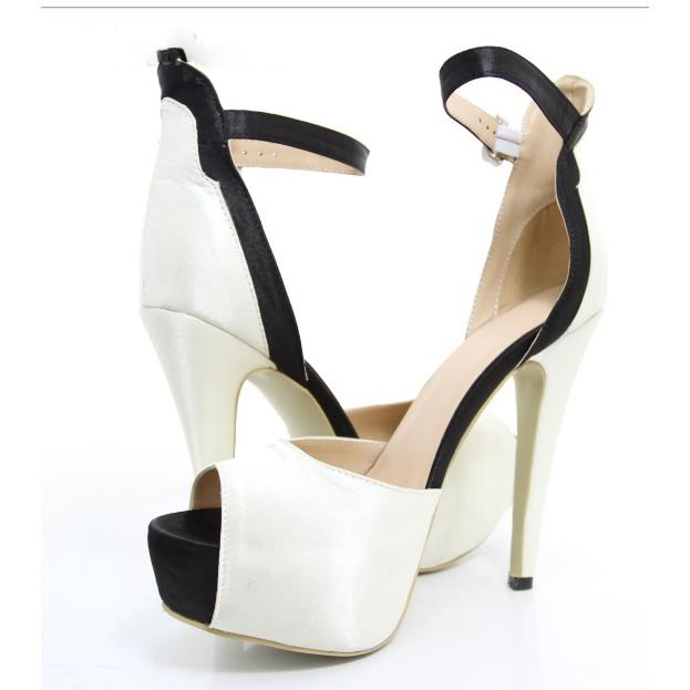 Shoesofdream New Arrival Contrast Color Peep-Toe Heels<br><br>Aliexpress