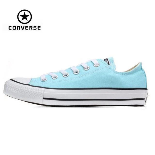 Первоначально конверс все звезды аква и розовый цвет холст мужские и женские кроссовки низких классических скейтбординга обуви