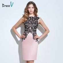 Dressv light pink appliques cocktail dress scoop neck sheath button knee length lace formal party dress column cocktail dress(China (Mainland))