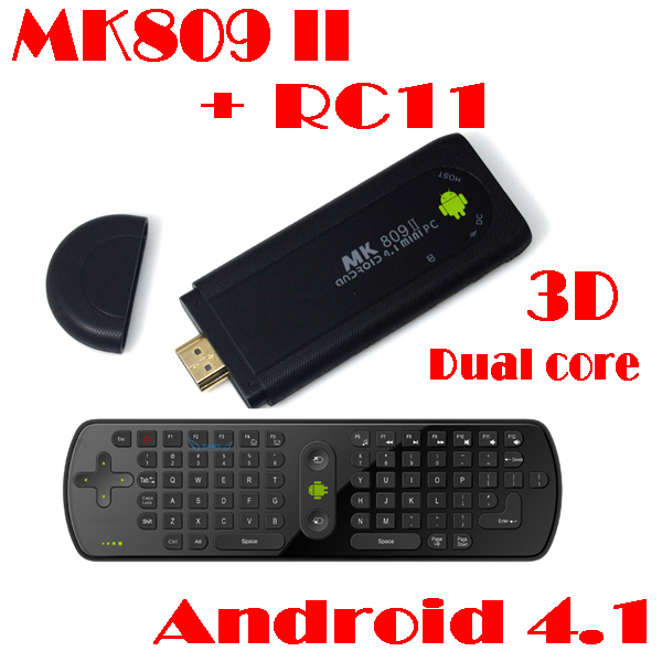 by dhl or ems 100 pieces RC11 fly air mouse+MK809 II Android Rockchip RK3066 Dual Core 1G 8GB Bluetooth WiFi HDMI TV Box(China (Mainland))