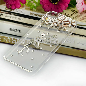 free shipping new style with Flower Angel water drill handbag rhinestone case; mobile phone case for phone4 /4s/5