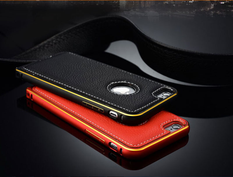 6s 6 metal frame case original leather back cover iphone iphone6 luxury 4.7inch +1Screen protector - Shenzhen Zomi Technology Co., Ltd. store
