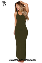 WomensDate Wholesale Fashion Dresses Olive Hollowed Back Maxi Jersey Dress Sexy Club Dresses For Women's Long Party Dress