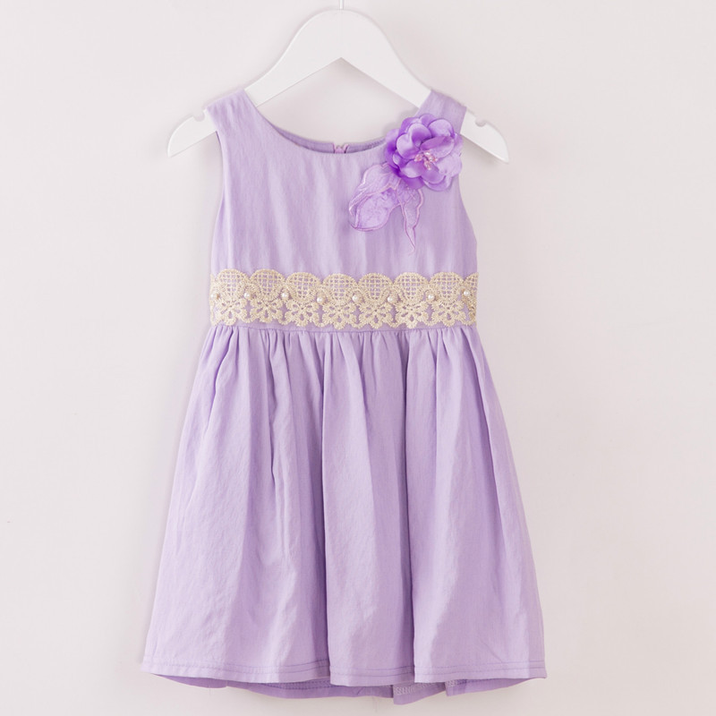 New 2015 summer toddler girls pink purple cotton lace flower dress, baby kids princess casual dresses clothes 5pcs/lot(China (Mainland))