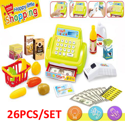 New children play house supermarket toys girls cash register toys with scanner with light sound kitchen toys for children(China (Mainland))