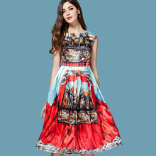 Free Shipping ! 2016 Summer Fashion High-end Digital Printing Real Georgette Satin Brocade Noble Women's Dress Plus Size XXXL(China (Mainland))