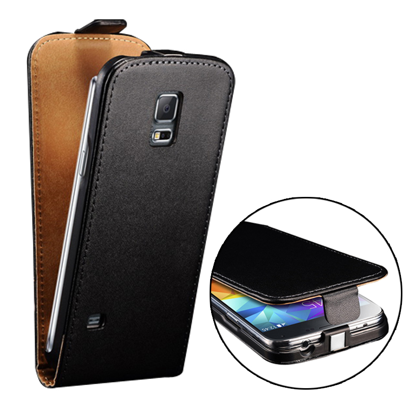 luxury genuine leather case for samsung galaxy s5 mini g800 coque flip style phone bag cover for. Black Bedroom Furniture Sets. Home Design Ideas