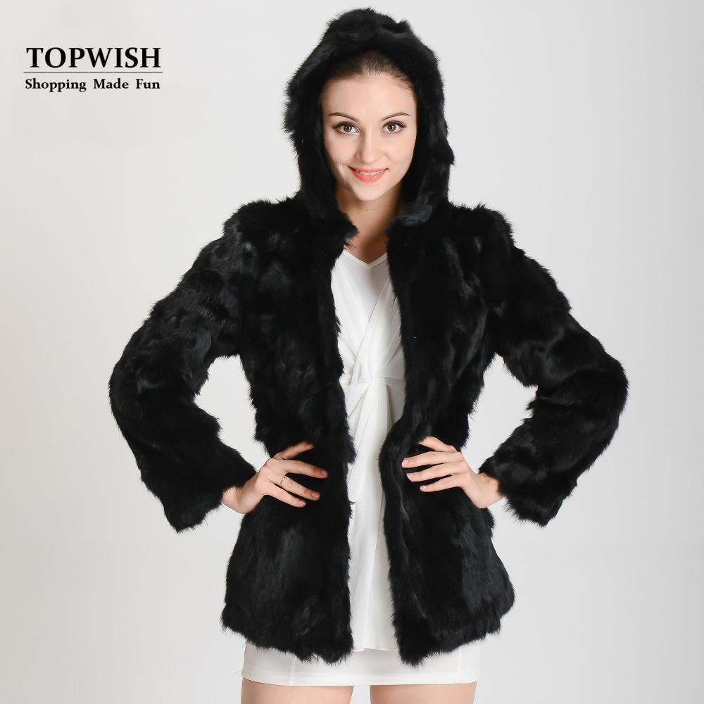 2016 Hood Real Rabbit Fur Coat Natural Genuine Rabbit Fur Jacket with fur hood free shipping Top Sell hood coat THP126(China (Mainland))