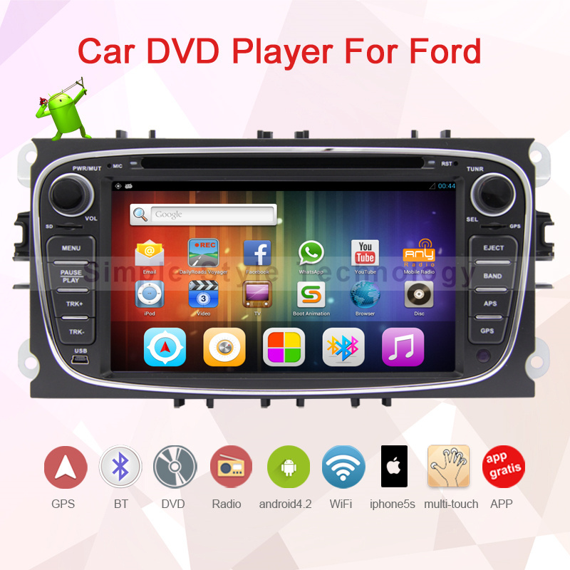 2 Din 7 inch Car dvd player for Ford, Android 4.2.2 car radio for Mondeo, Focus,built in GPS+Wifi+Bluetooth+Dual core 2GB CPU(China (Mainland))