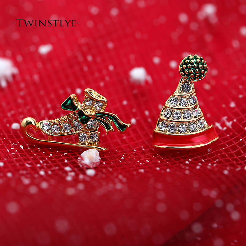 Asymmetric hat shoes earrings Christmas classic Alloy Polishing handmade gold Push-back earrings cute wild gift for girlfriend(China (Mainland))