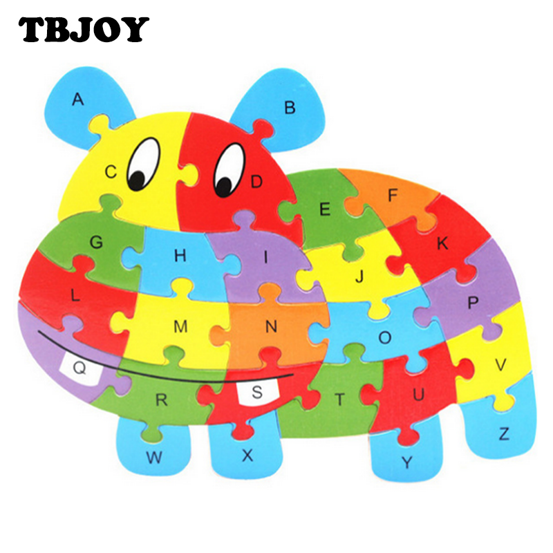 1 Set Baby 3D Assembling 26 Alphabet Letters Wooden Cartoon Animals Jigsaw Puzzles Kids Educational Early Learning Toys Gifts(China (Mainland))