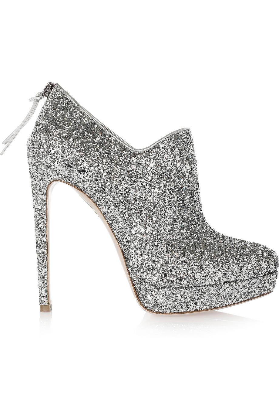 Silver Sparkly Stiletto Heels