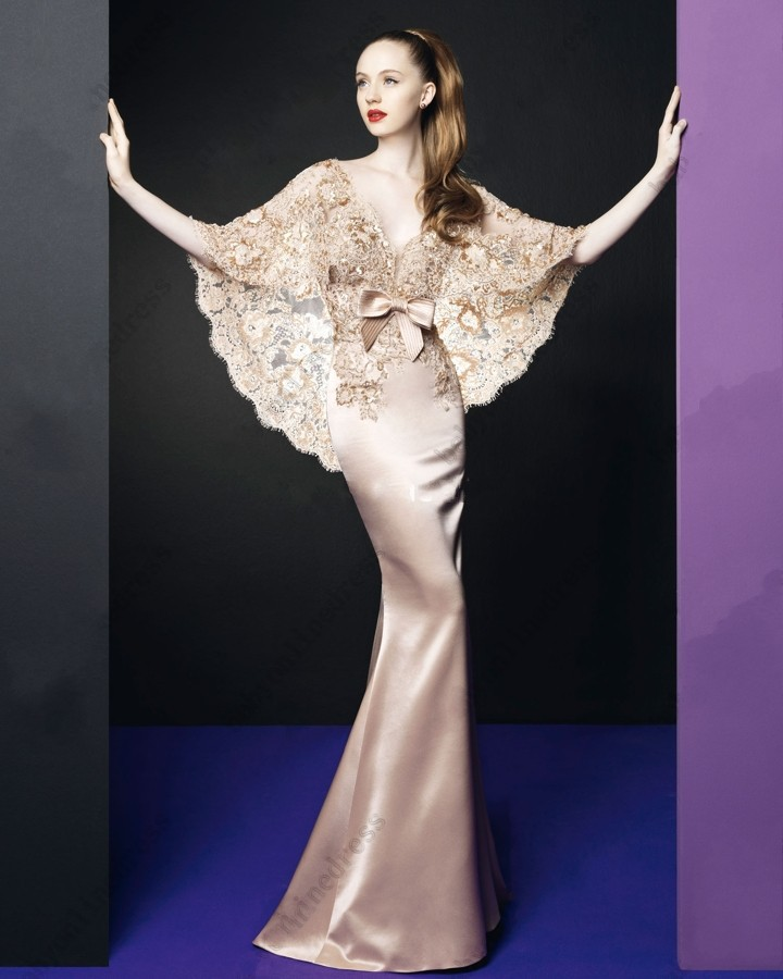 Fashion Couture Evening Dresses with lace shawl Gorgeous V Neck Satin Mermaid Prom Dresses(China (Mainland))