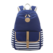 KEYTREND 2016 Ladies Canvas Travel Backpack Preppy Style Striped Teenagers School Backpacks Capacity Available 14'' PC KSB212(China (Mainland))