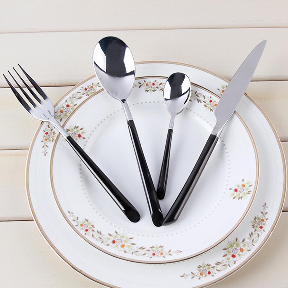 LEKOCH 18/10 Stainless Steel Cutlery Half blackPlated Flatware Set Dinner Knife Fork and Spoon Set Birthday Gift Dinnerware Set(China (Mainland))