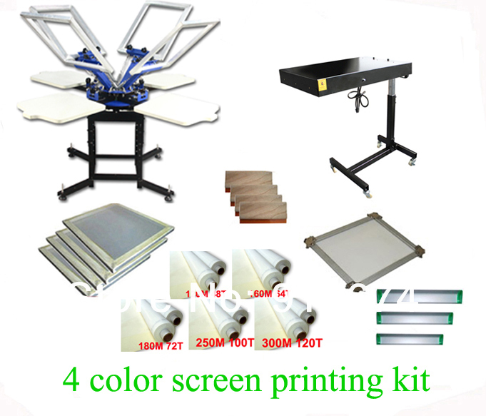 FAST FREE shipping! Hot Big Discount 4 color 4 station silk screen printing kit with flash dryer t-shirt printer stretched frame(China (Mainland))