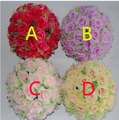 Top quality artificial rose balls four colors available diameter 40cm plastic rose flowers good looking home decoration(China (Mainland))
