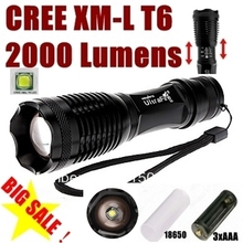 100% Authentic E007 CREE XM-L T6 2000LM 5-Mode cree led Torch Zoom cree LED Flashlight Torch light  For 1x18650 or 3xAAA(China (Mainland))