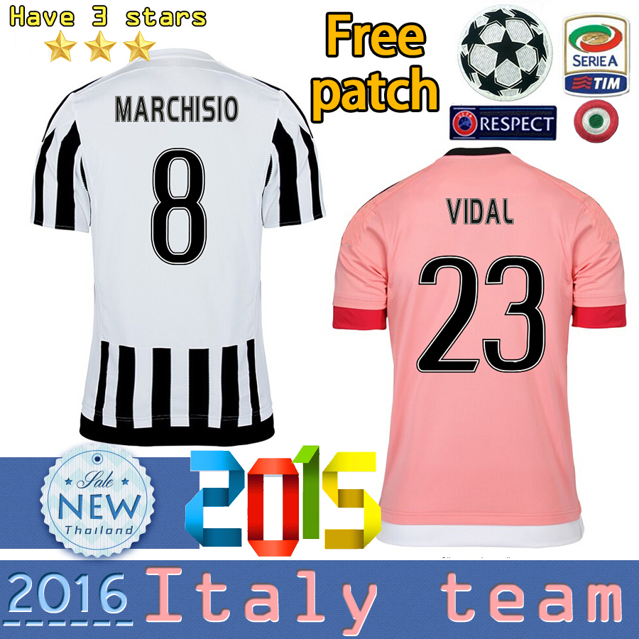 Best Thail Quality 2015 2016 Italy TOP TEAM Home away 3 stars soccer Jersey CHIELLIN MARCHISIO MORATA PIRLO POGBA Football Shirt(China (Mainland))