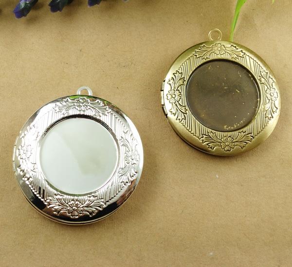 10 PCS 32mm Round Antique Bronze/Silver Locket Charms Photo Locket Pendants Jewelry Hollow Filigree Vintage Locket cy238(China (Mainland))