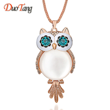Buy New Trendy Chubby Owl Necklace Fashion Rhinestone Crystal Jewelry Statement Women Necklace Chain Long Necklaces & Pendants for $2.10 in AliExpress store