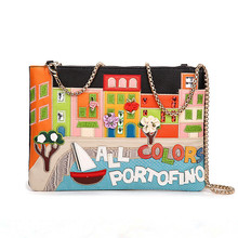 2016 Women Handbags Embroidery Flower Colorful House Messenger Bags Chain Envelope Clutch Tote Crossbody Shoulder Lady